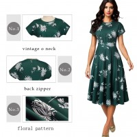 Floral Print Pleated Round neck vestidos NR