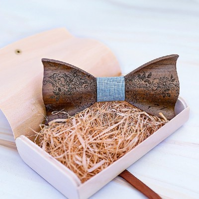 3D Engraving Wooden Bow Ties for Men ME