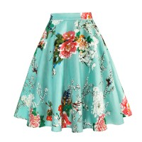 A Line Midi Floral Retro Skirt High Waist (1) TL