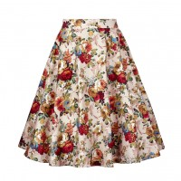 A Line Midi Floral Retro Skirt High Waist (11) TL