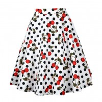 A Line Midi Floral Retro Skirt High Waist (12) TL