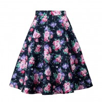 A Line Midi Floral Retro Skirt High Waist (13) TL