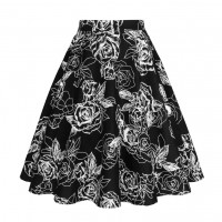 A Line Midi Floral Retro Skirt High Waist (2) TL