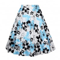 A Line Midi Floral Retro Skirt High Waist (5) TL