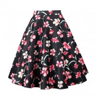 A Line Midi Floral Retro Skirt High Waist (6) TL