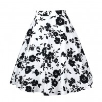 A Line Midi Floral Retro Skirt High Waist (7) TL