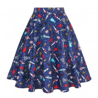 A Line Midi Floral Retro Skirt High Waist (8) TL