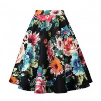 A Line Midi Floral Retro Skirt High Waist (9) TL