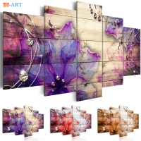 Abstract Purple Flower Prints Wall Art 5 Pieces ZK