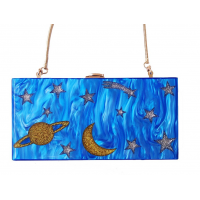 Acrylic Blue Night Sky Clutch Purse Evening MA