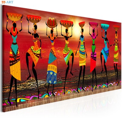 African Women Dancing Print Colored ZK