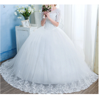 Appliques Wedding Dresses Short Sleeve Tulle EP