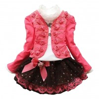 Autumn Flower Girls Clothing Sets Full Sleeve 3 EF