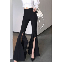 Autumn Split Flare Ruffles Black High Street Fashion AI