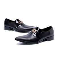 Black Pointed Toe Men Oxford Big Size Shoes E3