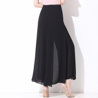 Black Wide Leg Loose Skirt Pants Culottes Chiffon AI