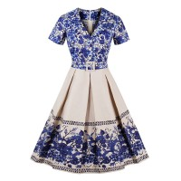 Blue Flower Pleated Dress V Neck T