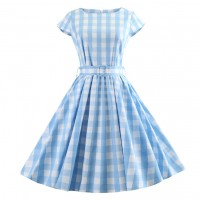 Blue Plaid Summer Dress T