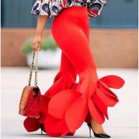 Bodycon Flared Trousers Ruffles Office Ladies AI