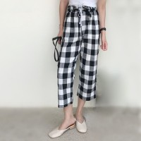 Checkerboard Black and White Plaid Pants AI