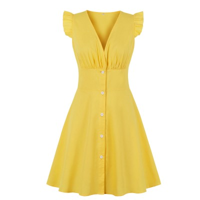 Cotton Single Breasted Yellow Mini Dress Ruffle TL