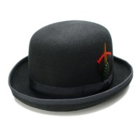 Derby Bowler Hat in Black and Red Fedora LI