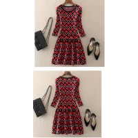 Dress Ladies O Neck Allover AT
