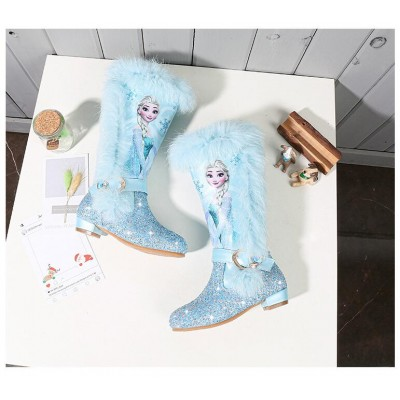 Elsa princess kids high boots new winter girls CD