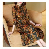 Fashion Print Dress Woman Leaves Flower AT