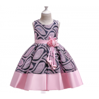 Flower Striped Dress For Girls Unicorn Wedding 1 RY