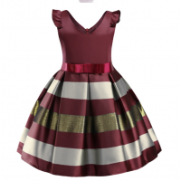 Flower Striped Dress For Girls Unicorn Wedding 10 RY