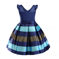 Flower Striped Dress For Girls Unicorn Wedding 11 RY