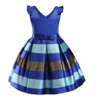 Flower Striped Dress For Girls Unicorn Wedding 12 RY