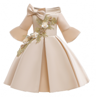 Flower Striped Dress For Girls Unicorn Wedding 14 RY