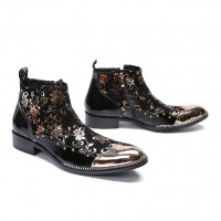 Gold Floral Men Short Boots Bullock E3