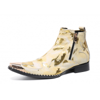 Gold Pattern Party Dress Boots Male E3