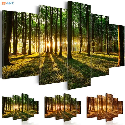 Green Forest Trees Sunset Prints ZK