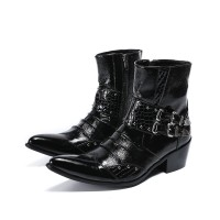 Height Increasing Men Boots Punk Rivets E3