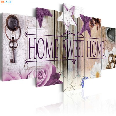 Home Print Wall Art 5 Panel Purple Rose ZK