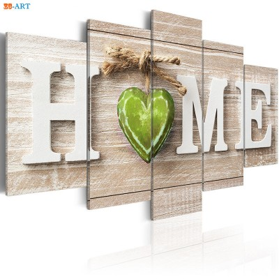 Home Prints Wall Art 5 Pieces Green Heart ZK