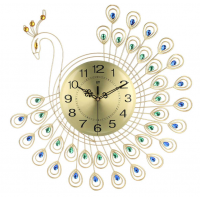 Large 3D Gold Diamond Peacock Wall Clock DE