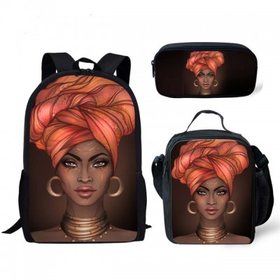 Large Capacity Book Bags for Kids Black Art FG