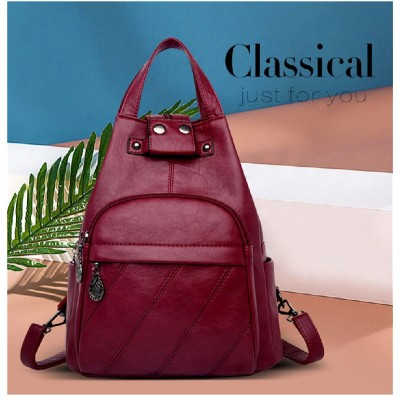 Leather Women Anti theft Backpack VH