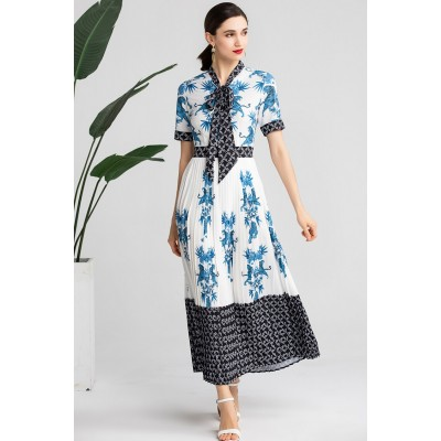 Luxury Porcelain Print Dresses AN