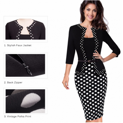 One-piece Faux Jacket Retro Contrast Polka NR