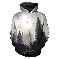 Printed Trees Hooded Tops Pullovers NO
