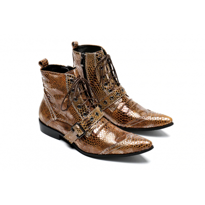 Snake Pattern Gold Men Genuine Leather Boots E3
