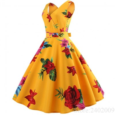 Summer Women Dress Elegant Vintage Floral 1 JN