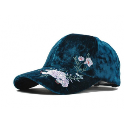 Velvet Embroidery Rose Flower Cap 2 SM