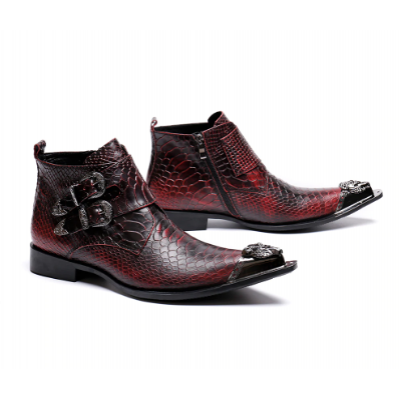 Winter Metal Buckle Men Ankle Boots E3